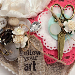 Follow Your Art Linen Pincushion