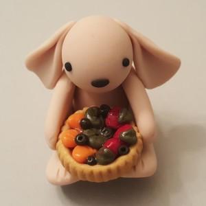Kiki The Polymer Clay Bunny With Fruit Tart