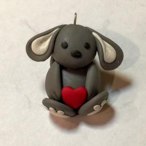 Grayson The Gray Polymer Clay Bunny