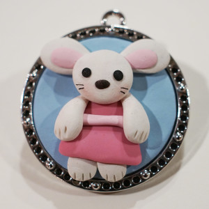 Kiki The Bunny Polymer Clay Pendant